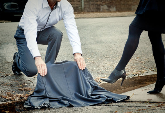 "No ""man"" can bear to hearken back to the Victorian-era custom of throwing his cape over a puddle so a woman can cross"