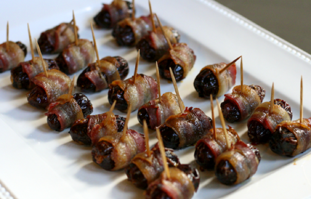 Bacon-wrapped dates that look like chodes